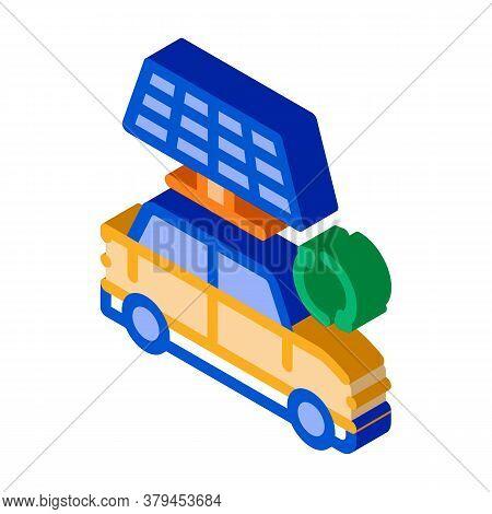 Electro Car Solar Panel Icon Vector. Isometric Electro Car Solar Panel Sign. Color Isolated Symbol I