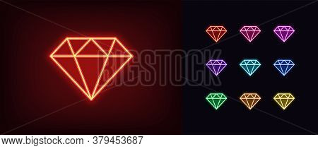 Neon Diamond Icon. Glowing Neon Gem Sign, Jewel In Vivid Colors. Bright Brilliant, Luxury Gemstone,