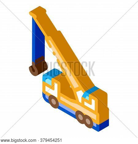 Crane Hydraulic Equipment Icon Vector. Isometric Crane Hydraulic Equipment Sign. Color Isolated Symb