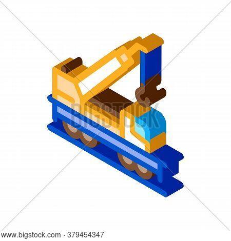 Railway Crane Icon Vector. Isometric Railway Crane Sign. Color Isolated Symbol Illustration