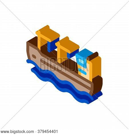 Crane On Boat Icon Vector. Isometric Crane On Boat Sign. Color Isolated Symbol Illustration