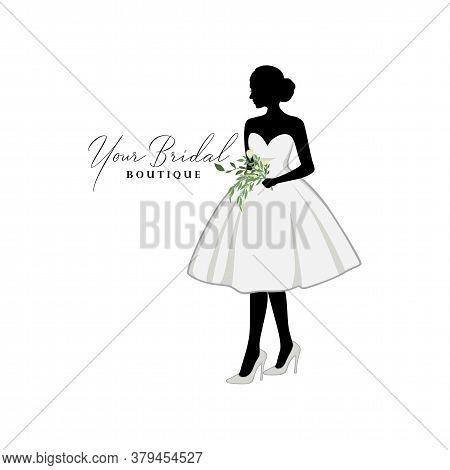 Beautiful Bride Short Gown With Bouquet Flower, Bridal Boutique Logo, Bridal Gown Logo Vector Design
