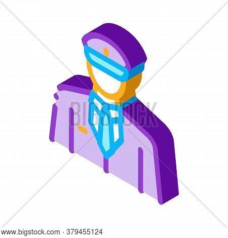 Pilot Profession Icon Vector. Isometric Pilot Profession Sign. Color Isolated Symbol Illustration