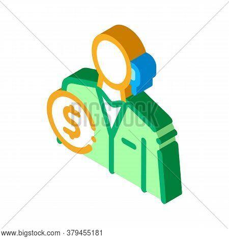 Accountant Profession Icon Vector. Isometric Accountant Profession Sign. Color Isolated Symbol Illus