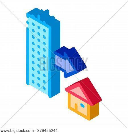 Skyscraper And House Icon Vector. Isometric Skyscraper And House Sign. Color Isolated Symbol Illustr