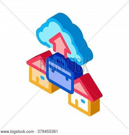Remote Work With Cloud Store Icon Vector. Isometric Remote Work With Cloud Store Sign. Color Isolate
