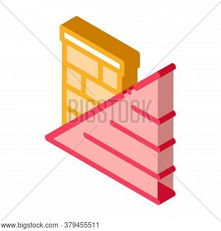 Roof And Chimney Icon Vector. Isometric Roof And Chimney Sign. Color Isolated Symbol Illustration