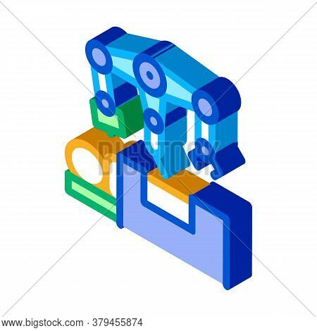 Robotic Surgeon And Patient O Table Icon Vector. Isometric Robotic Surgeon And Patient O Table Sign.