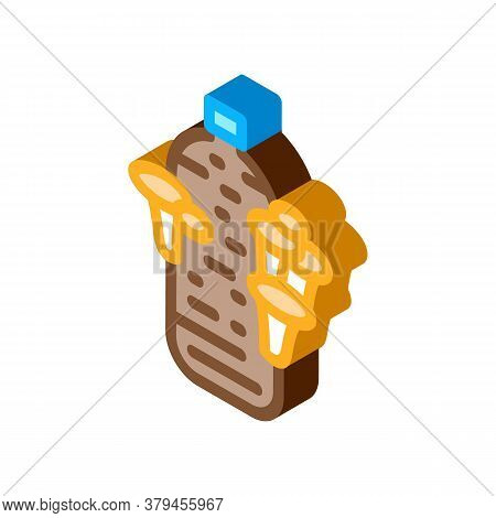 Growing Mushroom From Bag Icon Vector. Isometric Growing Mushroom From Bag Sign. Color Isolated Symb