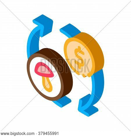 Mushroom Sale Icon Vector. Isometric Mushroom Sale Sign. Color Isolated Symbol Illustration