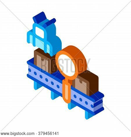 Manufacturing Defect Search Icon Vector. Isometric Manufacturing Defect Search Sign. Color Isolated