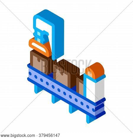 Manufacturing Process Icon Vector. Isometric Manufacturing Process Sign. Color Isolated Symbol Illus