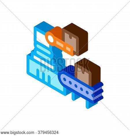 Robotic Manufacturing Icon Vector. Isometric Robotic Manufacturing Sign. Color Isolated Symbol Illus