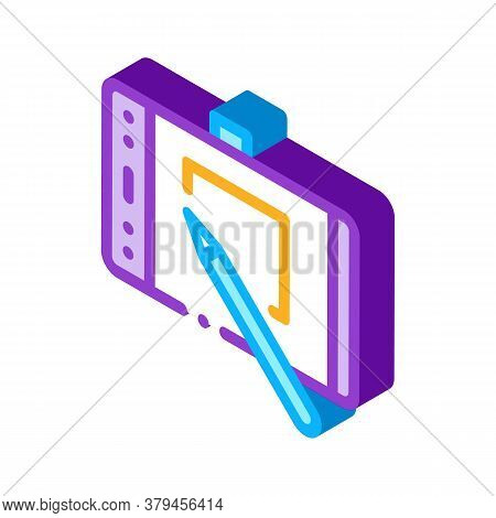 Web Site Design On Tablet Icon Vector. Isometric Web Site Design On Tablet Sign. Color Isolated Symb