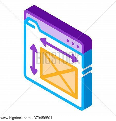 Front End Web Design Sizes Icon Vector. Isometric Front End Web Design Sizes Sign. Color Isolated Sy