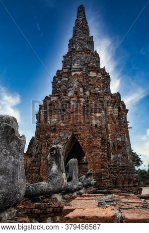 Ancient Temple And Stupa In Ayutthaya Province Of Thailand