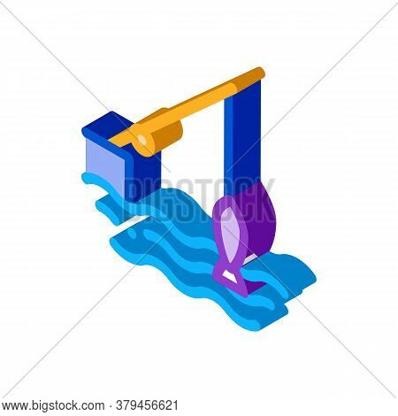 Fishing Rod Icon Vector. Isometric Fishing Rod Sign. Color Isolated Symbol Illustration