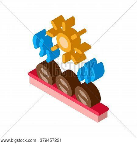 Coffee Beans Heating Icon Vector. Isometric Coffee Beans Heating Sign. Color Isolated Symbol Illustr