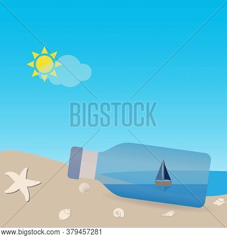 Sailboat In A Bottle With Seascape, Conceptual Vector