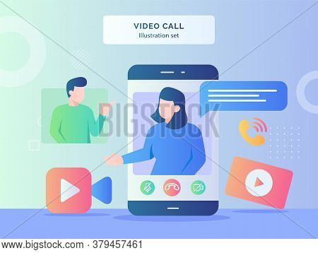Video Call Illustration Set Women Talk On Display Smartphone Screen Background Of Men Camera Video I