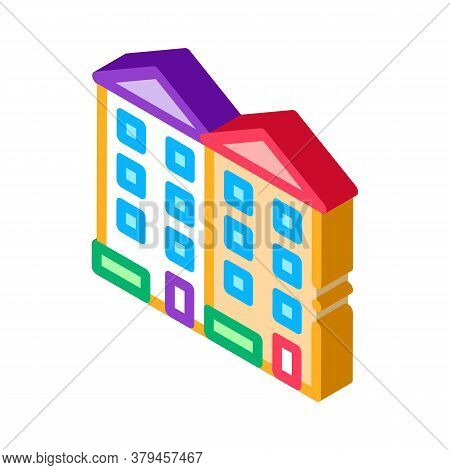 Apartment Houses Icon Vector. Isometric Apartment Houses Sign. Color Isolated Symbol Illustration