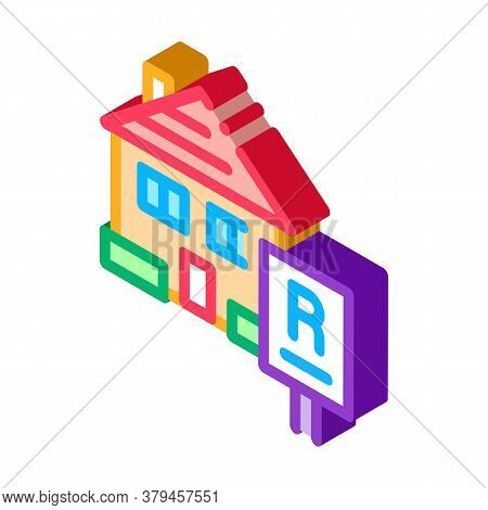 House Rent Icon Vector. Isometric House Rent Sign. Color Isolated Symbol Illustration