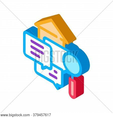 Real Estate Agent Messages Icon Vector. Isometric Real Estate Agent Messages Sign. Color Isolated Sy