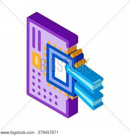 Radio Microchip Icon Vector. Isometric Radio Microchip Sign. Color Isolated Symbol Illustration