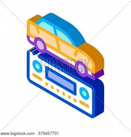 Car Radio Icon Vector. Isometric Car Radio Sign. Color Isolated Symbol Illustration