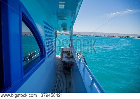 A Deck Of Yacht On Azure Sea Water