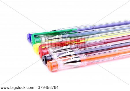 Set Of Colorful Gel Pens On White Background.school Education.