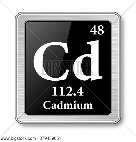 Cadmium Symbol.chemical Element Of The Periodic Table On A Glossy Black Background In A Silver Frame