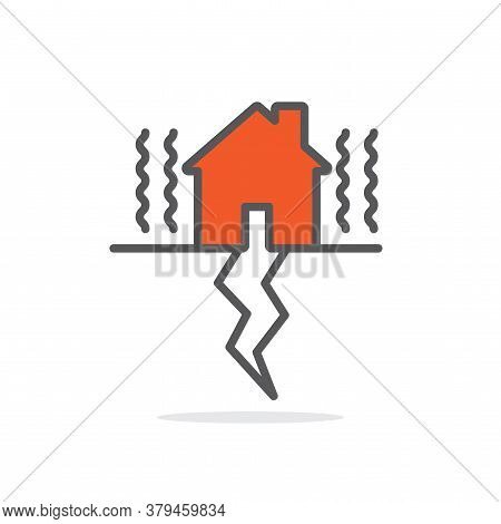 Earth Quake Line Icon Illustration Vector Symbol