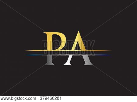 Initial Pa Logo Design Swoosh. Vector Pa Logo For Business And Company Identity