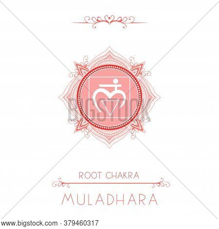 Vector Illustration With Symbol Muladhara - Root Chakra And Decorative Elements On White Background.