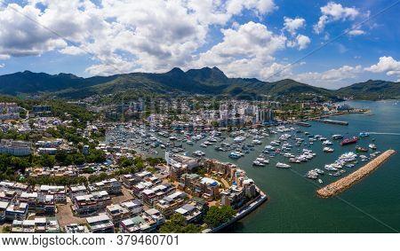 Sai Kung, Hong Kong 25 July 2020: Top view of the city in Sai Kung at Hong Kong