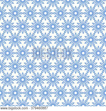 Openwork Pattern Of Blue Geometric Flowers On A White Background. Vector Seamless Pattern For Wallpa