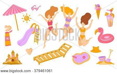 Vector Set Of Cute Summer Icons. Bikini, Sunblock, Beach Umbrella, Towel, Ball, Sand Castle, Pool, G