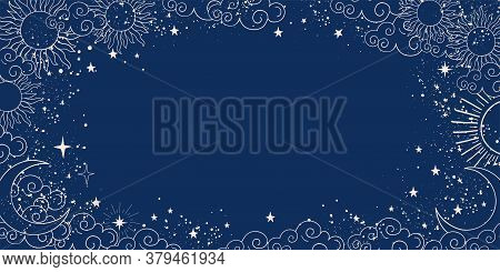 Blue Space Background With Sun, Moon And Stars With Place For Text. Magic Banner With Copy Space. Bl