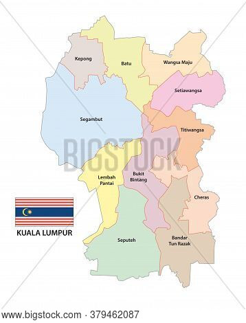 Administrative Vector Map Of The Malaysian Capital Kuala Lumpur With Flag