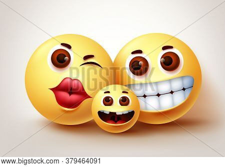 Emoji Hopeless Crying Character Vector Design. Emoji Of Parent And Children Emoticon In Sad, Tears,