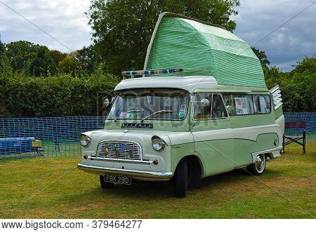Upper Dean, Bedfordshire, England - September 07, 2019:  Classic Bedford Camper Van  Parked In Field