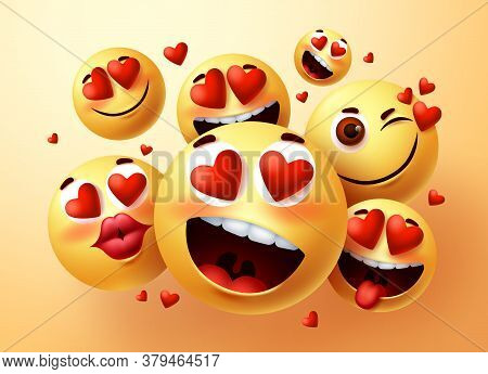 Emoji In Love Vector Creator Set. Emojis With Hearts And In Love Face With Different Facial Expressi