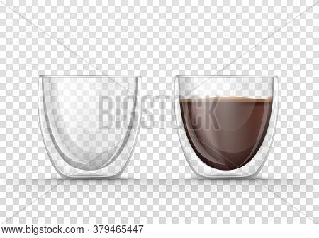 Set Transparent Vector Of Realistic Illustrations, Isolated Icons, Glasses Empty And Full Of Coffee.