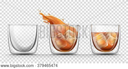 Set Of Glasses With Double Walls For Strong Alcohol Drinks In A Realistic Style Isolated On Transpar
