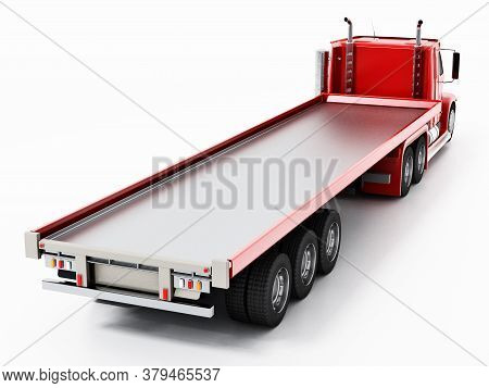 Empty Truck Haulage Ready For Loading. 3d Illustration.