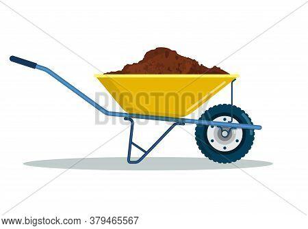 Wheelbarrow Yellow Garden Tool Equipment Side View With Dirt.. Agriculture Cart Wheel Cartoon Farm I