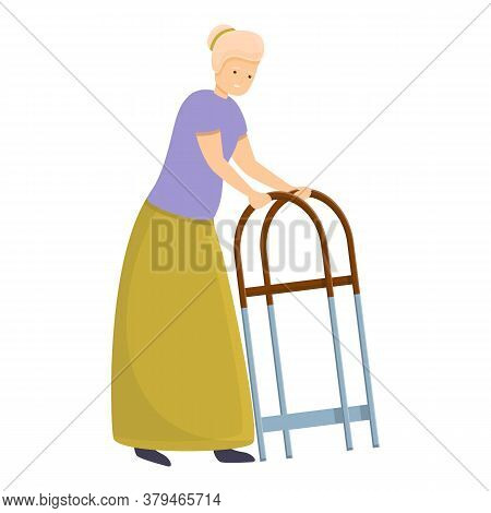 Senior Woman Walker Icon. Cartoon Of Senior Woman Walker Vector Icon For Web Design Isolated On Whit
