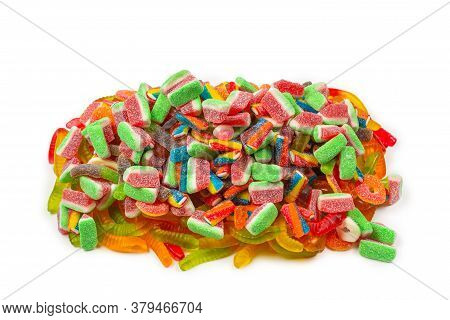 Assorted Tasty Gummy Candies. Top View. Jelly  Sweets Background.