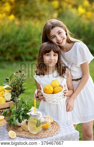 Two Cute Happy Girls Selling Lemonade In Park. Homemade Lemonade Sale Concept. Lemons, Mint, Cocktai